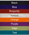 Organic Cotton Colour Options, Blue, Burgundy, Purple, Orange, Teal, Sage, Natural and Black