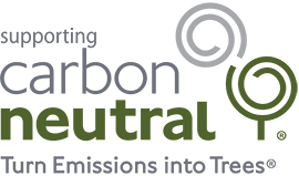 Supporting Carbon Neutral Logo with tagline turn emissions into trees